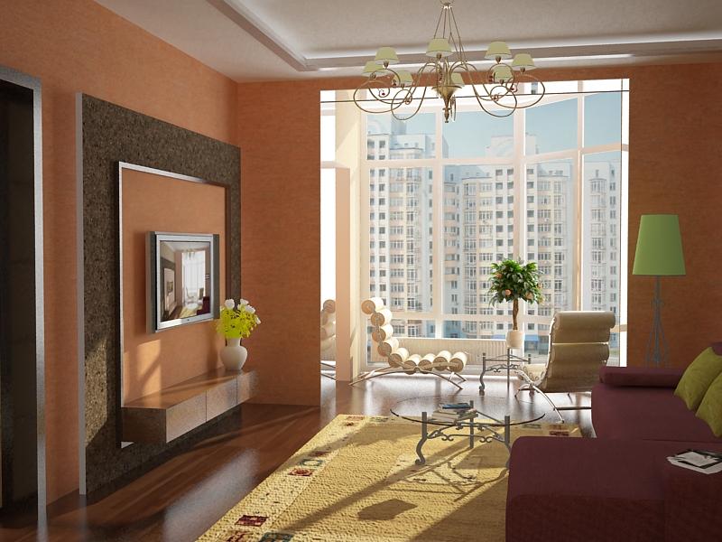 Интерьер комнаты совмещенной с балконом..