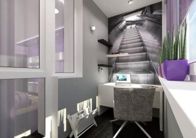 Интерьер балкона кабинета