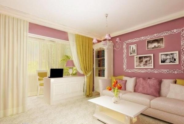 Интерьер зала с балконом в квартире