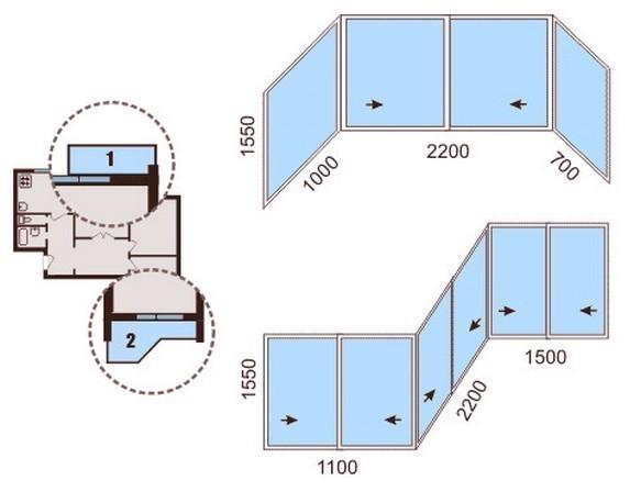 Остекление балконов и лоджий в доме серии П44